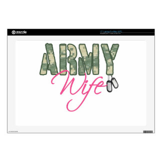 "Army wife camo and pink with dog tags 17"" laptop decals"