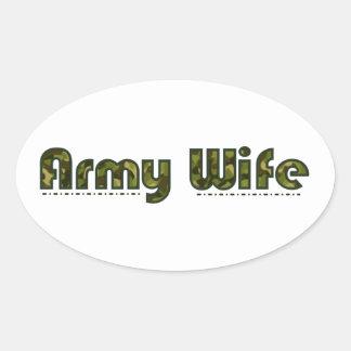 Army wife camouflage oval sticker
