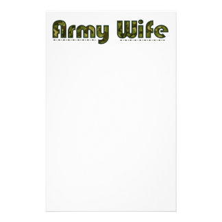 Army wife camouflage stationary paper customized stationery