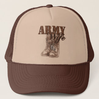Army Wife Combat Boots N Dog Tags 1 Trucker Hat