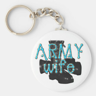 army wife- combat boots polka dots basic round button keychain