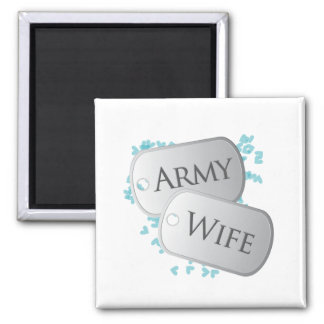 Army Wife Dog Tags 2 Inch Square Magnet