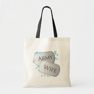 Army Wife Dog Tags Tote Bags