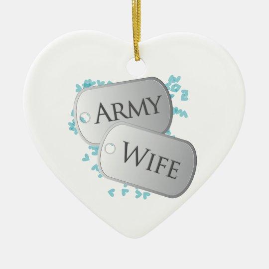 Army Wife Dog Tags Ceramic Ornament