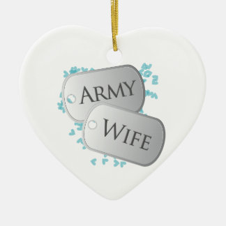 Army Wife Dog Tags Double-Sided Heart Ceramic Christmas Ornament