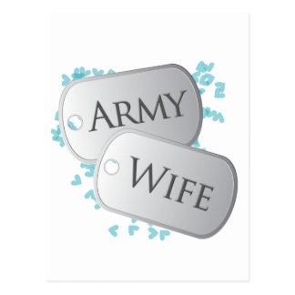 Army Wife Dog Tags Postcard