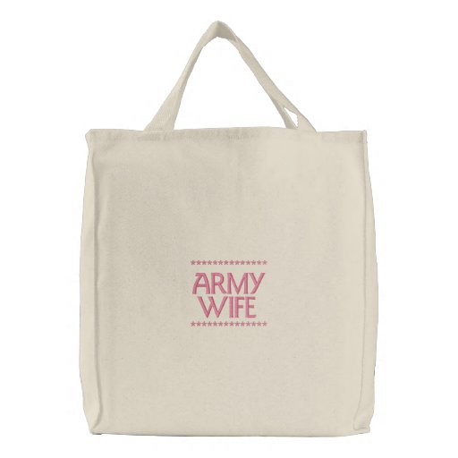 Army Wife Embroidered Tote Bag