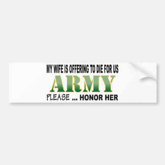 Army Wife Honor Car Bumper Sticker