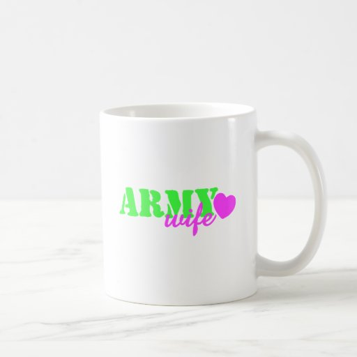 Army Wife Lime Green Pink Heart Mug