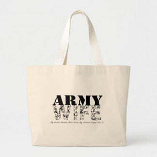 Army Wife MY WORLD STANDS STILL Large Tote Bag