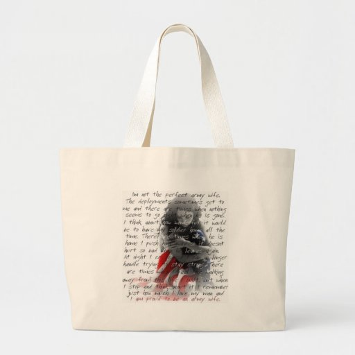 Army wife poem jumbo tote bag