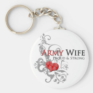 Army Wife - Proud & Strong Basic Round Button Keychain