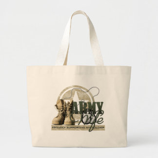 Army Wife - Proudly Supporting my Soldier Large Tote Bag