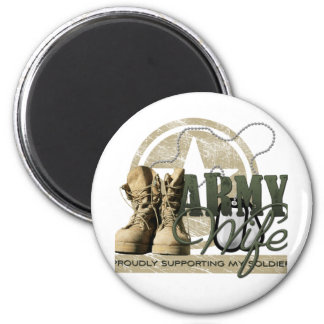 Army Wife - Proudly Supporting my Soldier 2 Inch Round Magnet