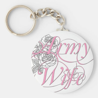 Army wife rose basic round button keychain