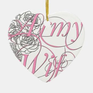 Army wife rose ceramic ornament