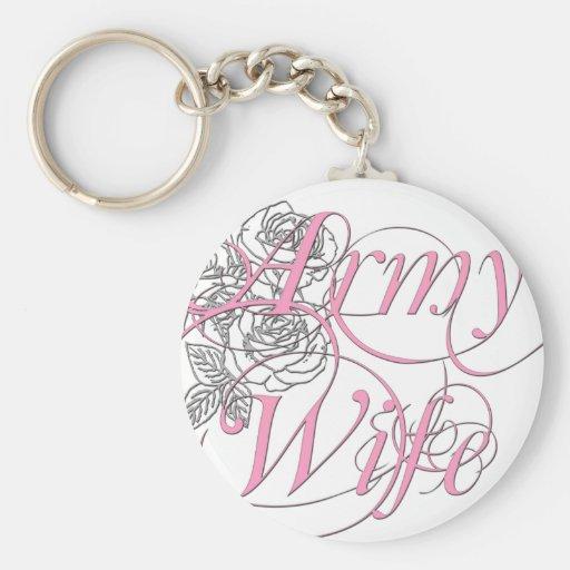 Army wife rose key chain