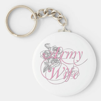 Army wife rose keychain