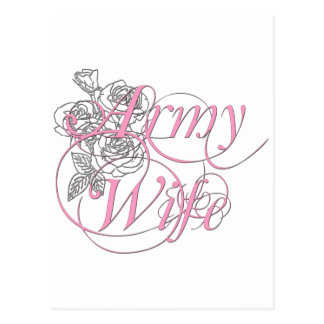 Army wife rose postcard