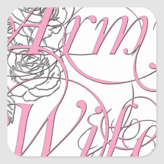 Army wife rose square sticker