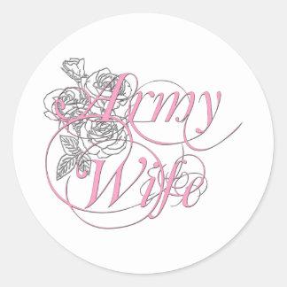 Army wife rose round sticker