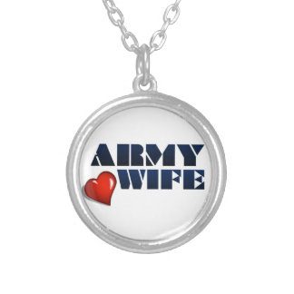ARMY WIFE ROUND PENDANT NECKLACE