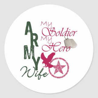 Army Wife - Soldier Round Stickers