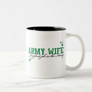 Army Wife - Toughest job in the Army Two-Tone Coffee Mug