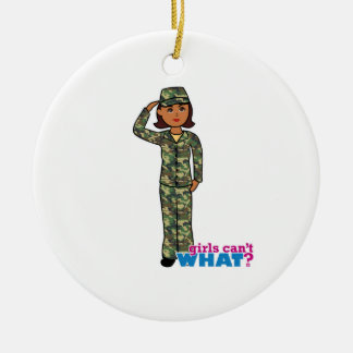 Army Woodland Camo Dark.png Double-Sided Ceramic Round Christmas Ornament