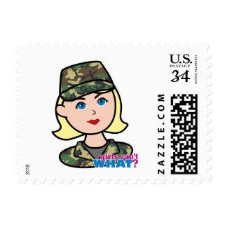 Army Woodland Camo Head Light Blonde Postage Stamp