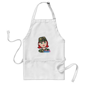 Army Woodland Camo Head Light Red Adult Apron