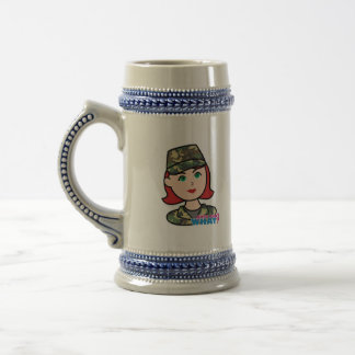 Army Woodland Camo Head Light Red Beer Stein