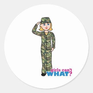 Army Woodland Camo Light Blonde Classic Round Sticker