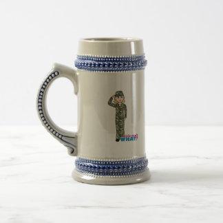 Army Woodland Camo Light Blonde 18 Oz Beer Stein