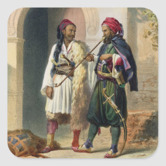 Arnaout and Osmanli Soldiers in Alexandria, illust Square Sticker
