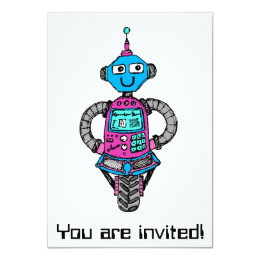 Arnie Robot: Pink and blue Card