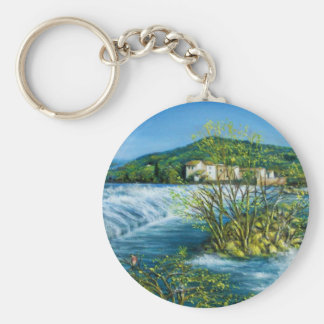 ARNO RIVER AT ROVEZZANO Florence Italy Basic Round Button Keychain