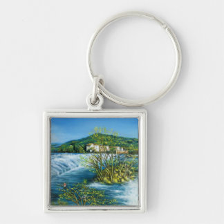 ARNO RIVER AT ROVEZZANO Florence Italy Silver-Colored Square Keychain