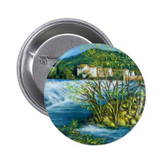 ARNO RIVER AT ROVEZZANO Florence Italy Pinback Button
