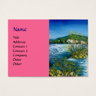 ARNO RIVER AT ROVEZZANO Florence Italy pink Business Card