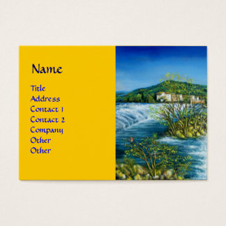 ARNO RIVER AT ROVEZZANO Florence Italy yellow blue Business Card
