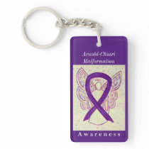 Arnold-Chiari Malformation Ribbon Angel Keychain