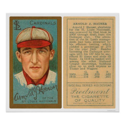 Arnold Hauser Cardinals Baseball 1911 Poster