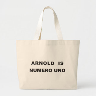 Arnold is numero uno large tote bag