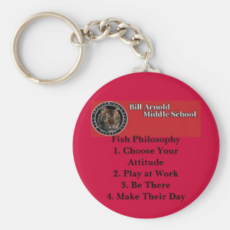 Arnold Middle School -- Fish Philosophy Basic Round Button Keychain