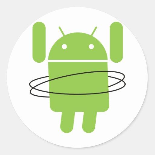 Aro androide de Hula Pegatina Redonda