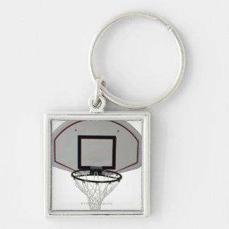 Aro de baloncesto con el tablero trasero llavero cuadrado plateado