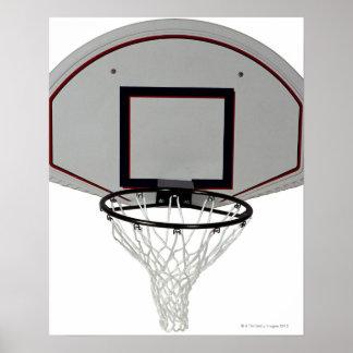 Aro de baloncesto con el tablero trasero póster