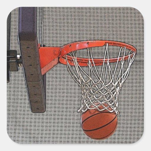 Aro de baloncesto gráfico pegatina cuadrada