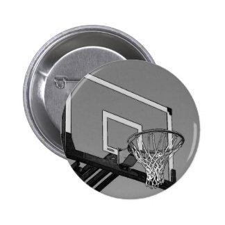 Aro de baloncesto negro y blanco pin redondo de 2 pulgadas